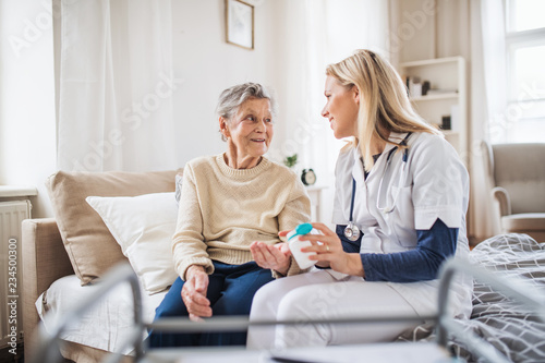 A health visitor explaining a senior woman how to take pills. Fototapet