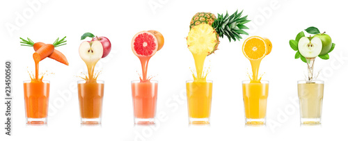 Six tastes of juice pouring in glass from fruit isolated on white background