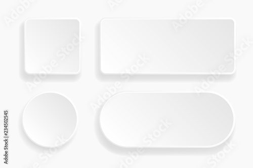 Fotografering  Web embossed 3d buttons. White blank 3d icons
