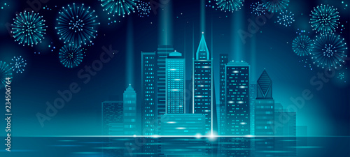 New Year Polygonal Point Line Dark Blue Night Sky Eve Greeting Card Template Glowing Light Party City Silhouette Vector Ilration