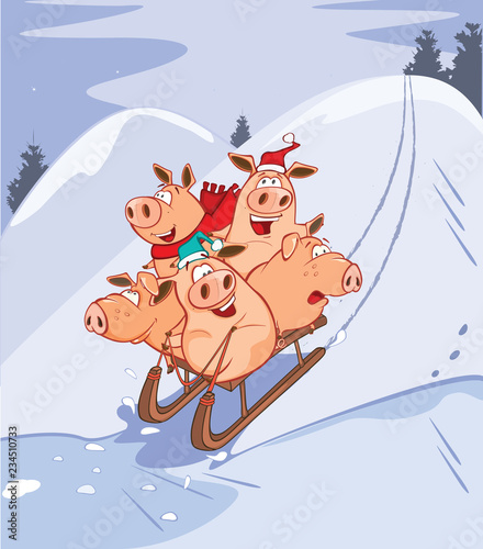Vector Illustration of a Funny Piglets on a Sled
