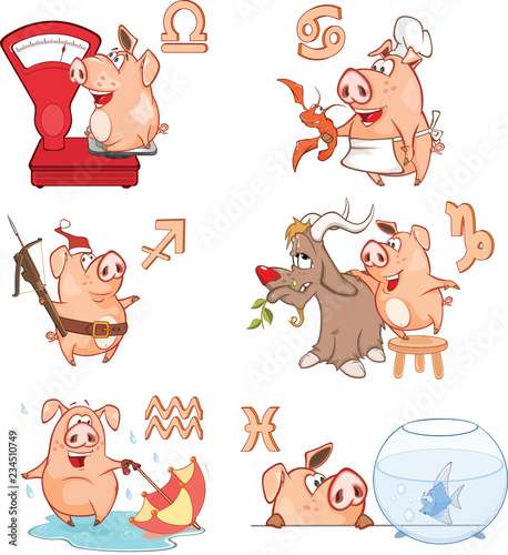 Vector Illustration of Cute Pigs. Astrological Signs in the Zodiac Cartoon Character.