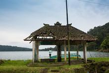 An Ancient Pavilion Near A Lake In Mount Putuo Zhoushan City Zhejiang Province China.