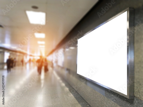 Cuadros en Lienzo billboard big blank white LED screen perspective horizontal outstanding in subway side pathway people walking to train underground for display advertisement text template promotion new brand indoor