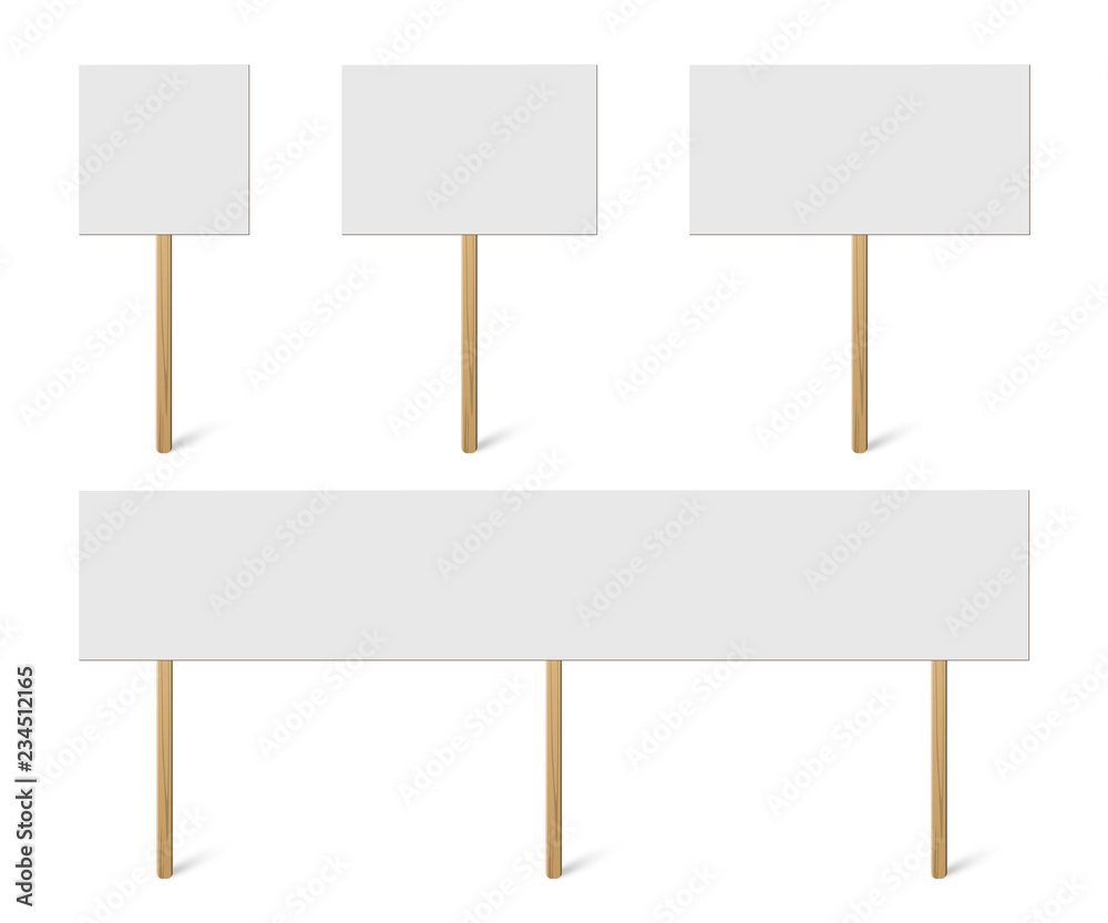 Fototapeta Blank banner mock up on wood stick collection. Vector empty different board plank holder set. Protest signs isolated on white background.