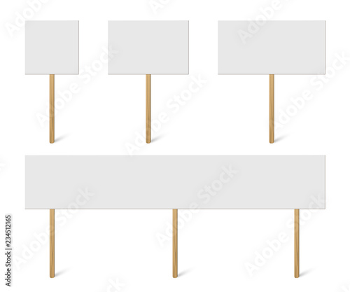 Obraz Blank banner mock up on wood stick collection. Vector empty different board plank holder set. Protest signs isolated on white background. - fototapety do salonu