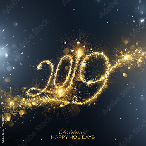 Fotografie, Obraz  New Year Fireworks 2019 with Flickering Lights Effect. Vector