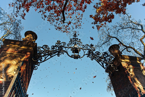 entrance to the Harvard campus. Harvard University's iron gate in Cambridge, Massachusetts, USA