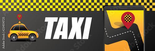 Leinwand Poster Taxi hailing app concept. Eps10 vector illustration.