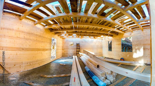 Photo Panorama of wooden roof construction, for home, house building