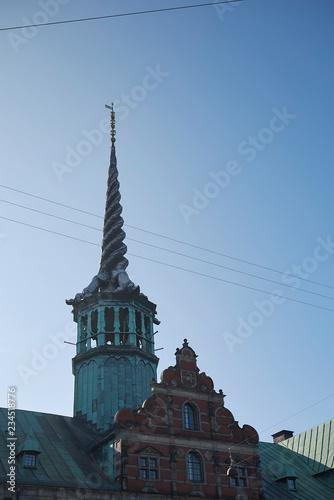 Photo Copenhagen, Denmark - October 10, 2018: View of the Børsen spire