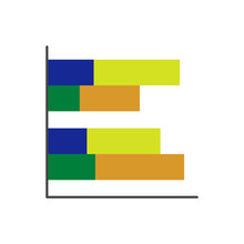 Vector Clustered Bar Chart Icon With Categories And Segments