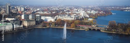 Foto  Panorama Alster Fontäne zentral Hamburg sonnig entzerrt