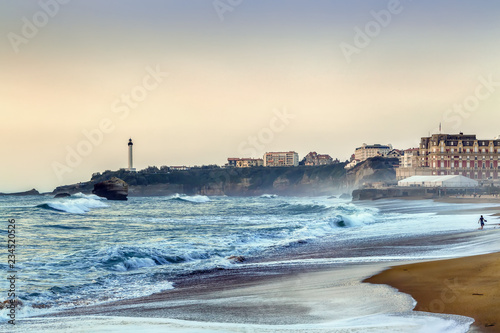 Photo Waves on the beach in Biarritz, France