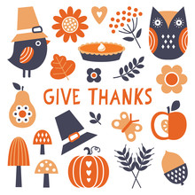 Cute Vector Set Of Scandinavian Style Icons And Motifs For Fall And Thanksgiving. Autumn Elements Isolated On White With Give Thanks Text, For Cards, Decals, Stickers, Tags And Web Use.