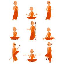 Buddhist Monks Cartoon Charact...