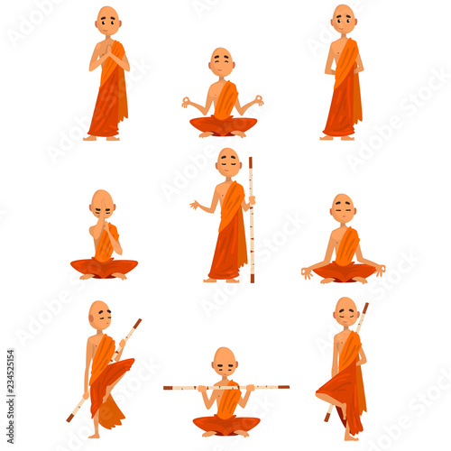 Buddhist monks cartoon characters in different poses set, monk in orange robe, p Fotobehang