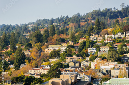 Aerial view of residential neighborhood built on a hill on a sunny autumn day, B Canvas Print