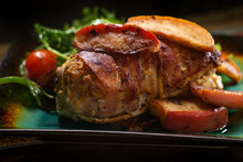 Bacon Wrapped Pork With Apples