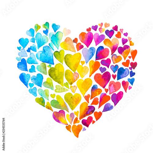 Fényképezés dipinto cuore fatto di cuori acquarello