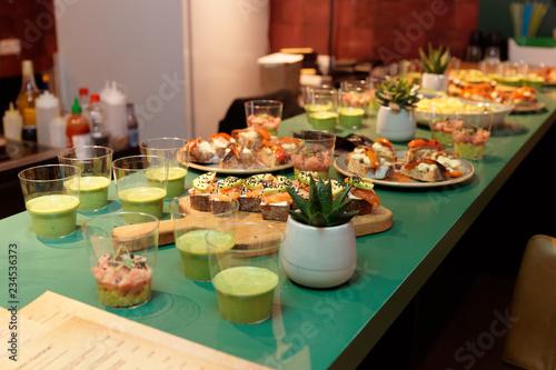 Various snacks on open kitchen counter