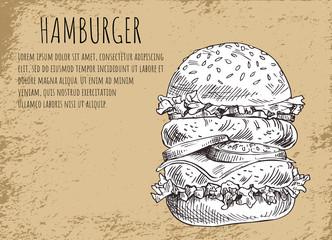 Hamburger Poster and Skecth Vector Illustration
