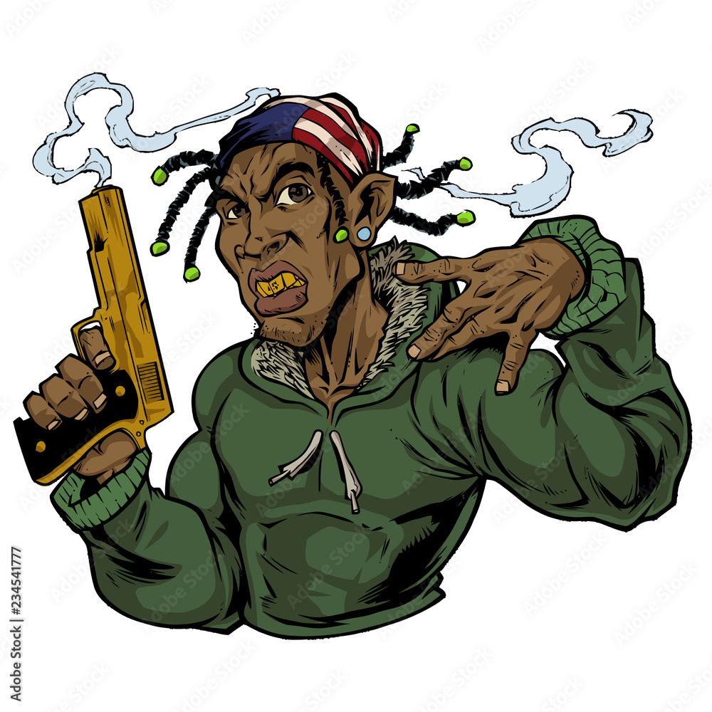 Fototapeta illustration of gangster with a gold gun