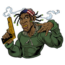 Illustration Of Gangster With ...