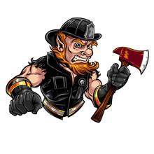 Leprechaun Firefighter With An Axe