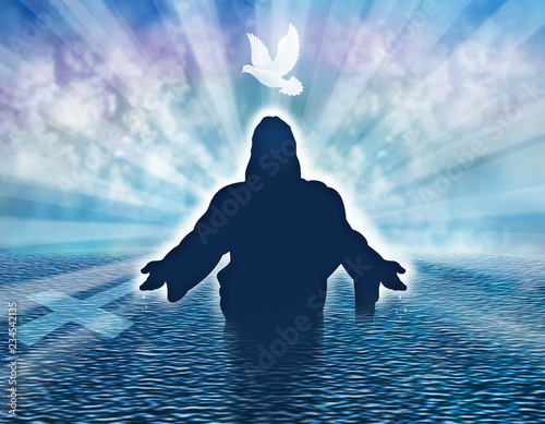 Fotografia Christian baptism illustration concept with dove and man silhouette in the sea