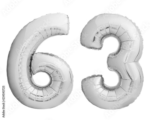 Fotografie, Tablou  Silver chrome number 63 sixty three made of inflatable balloon on white