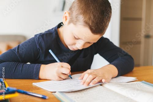 Tela Schoolboy doing his homework on desk at home.