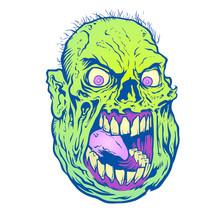 Fat Yelling Zombie Head