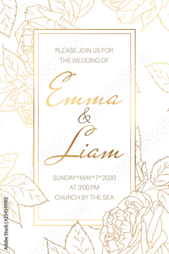 Wedding Marriage Event Invitation Card Template Elegant
