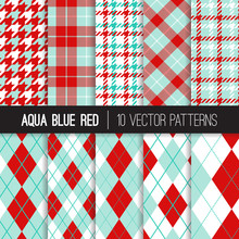 Aqua Blue And Red Argyle, Houn...