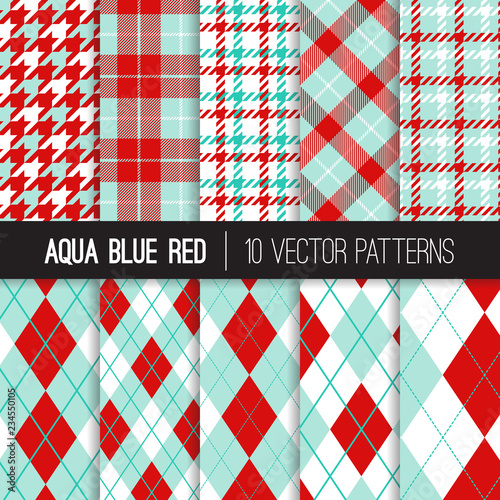 Photo  Aqua Blue and Red Argyle, Houndstooth and Tartan Plaid Vector Patterns