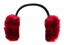 Dark Red Winter Earmuffs Isolated On White Background