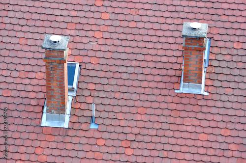 Kominy na dachu  - fototapety na wymiar