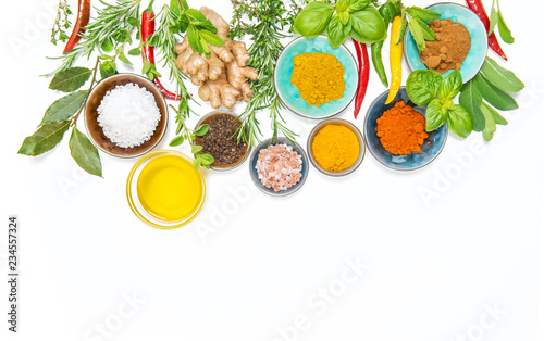 Tuinposter Kruiderij Herbs spices food Curry turmeric ginger rosemary basil mint