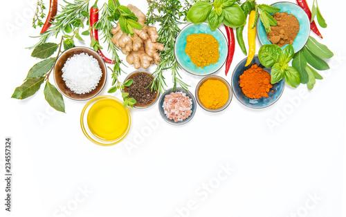 Fotobehang Kruiderij Herbs spices food Curry turmeric ginger rosemary basil mint