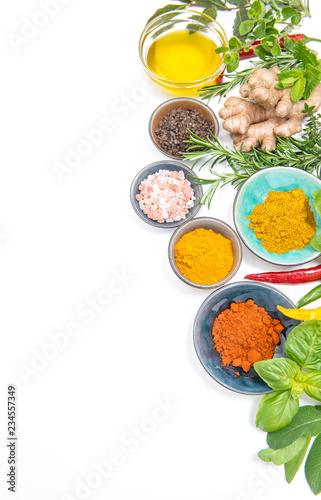 Tuinposter Kruiderij Herbs spices white background Healthy organic food