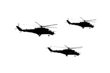 Illustration Image Of A Three Flying Helicopters. Black Drawing On White Background.