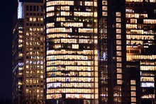 Modern Office Building At Night. Night Lights, City Office Building Downtown, Cityscape View