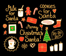 Merry Christmas Set Cute Mini Decor. Vector Gold Line And Red Green Hand Drawing Holiday Elements Isolated On Black Background. Cookies And Milk For Santa.