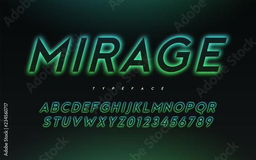 Obraz Vector trendy neon light or eclipse style glowing font design - fototapety do salonu
