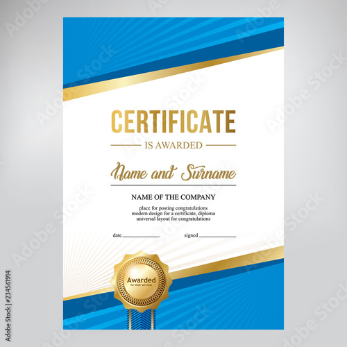 Certificate Design Creative Geometric Blue Background Template For