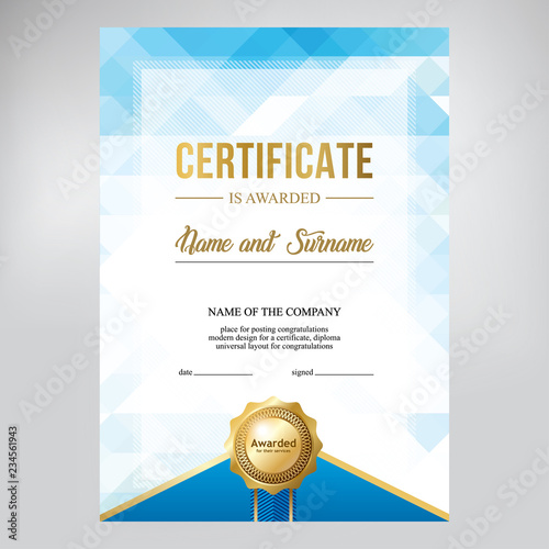 Certificate Design Creative Geometric Blue Background Template For
