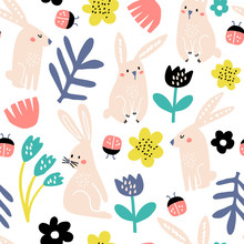 Seamless Childish Pattern With Pink Bunny, Flowers, Ladybug . Creative Scandinavian Kids Texture For Fabric, Wrapping, Textile, Wallpaper, Apparel. Vector Illustration