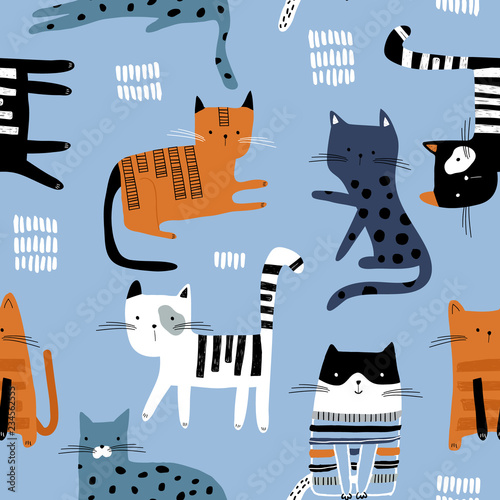 fototapeta na ścianę Seamless pattern with cute colorful Kittens. Creative childish texture. Great for fabric, textile Vector Illustration