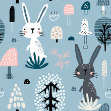 Seamless Childish Pattern With Rabbits In Forest . Creative Scandinavian Kids Texture For Fabric, Wrapping, Textile, Wallpaper, Apparel. Vector Illustration